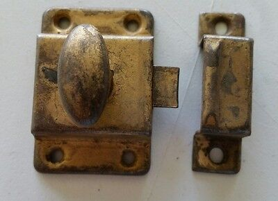 Old vintage metal cabinet latch with catch turn knob  some old paint  (480)