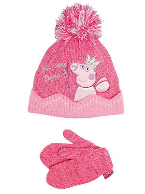 Girls Peppa Pig Hat & Mittens Set Princess Peppa Design Age 3-6 Years NEW