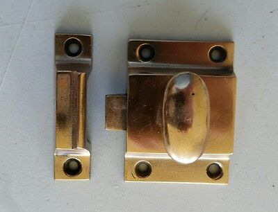 Nice Antique Heavy Solid Brass Cabinet Cupboard Latch With Catch   (483)