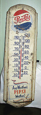 Pepsi Thermometer Sign, Vintage, Any Weather's Pepsi Weather! 1947