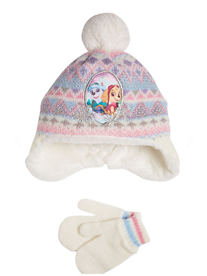 Girls Paw Patrol Hat & Mittens Set Skye and Everest Design Age 3-6 Years NEW