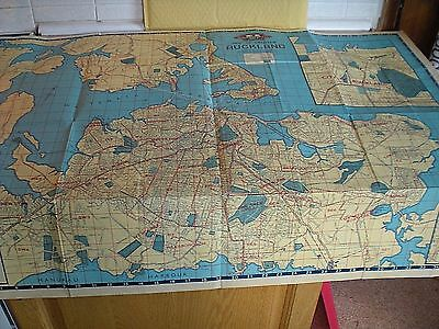 """A Large Map Of Greater Auckland, New Zealand Circa 1950's -   Approx. 40"""" x 30"""""""
