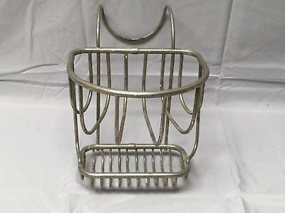 Antique Nickel Brass Wire Basket ClawFoot Tub Rim Soap Sponge Dish Vtg 591-17E