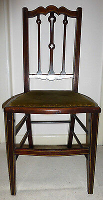 Antique dainty small petite adult, child chair poss Edwardian wood string inlay