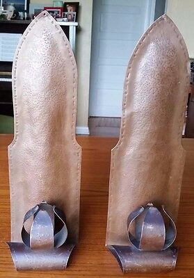 Pair of Unmarked Hand Hammered Copper Candle Wall Sconces Arts and Crafts Style
