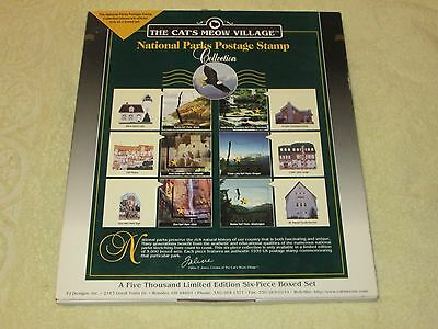 NOS THE CATS MEOW VILLAGE COMPLETE 6 pc BOX SET National Parks Postage Stamps