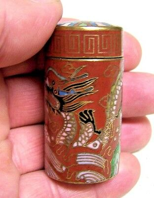 Vintage Chinese Cloisonne Enamel Brass Lidded Jar Box  Chinese Dragon
