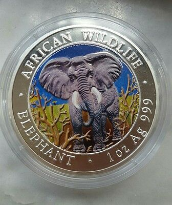 2004 Somalia Elephant colorized BU silver coin, African Wildlife1,000 Shillings