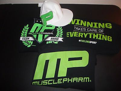 MUSCLEPHARM T-Shirt & Hat Lot L-XL bodybuilding weight lifting fitness PROMO
