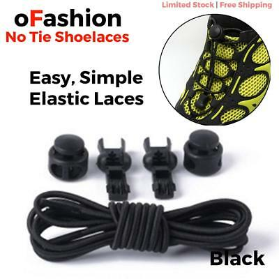 Elastic Shoe Lock Laces Sport Sneakers No Tie Lazy Shoelace Genuine Unsiex Black