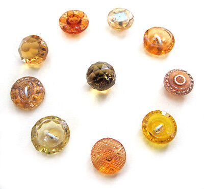 Set of 10 Vintage Small Yellow & Amber Colored Glass Buttons-Different Patterns