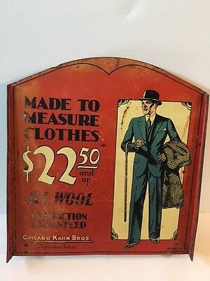 Antique Advertising Trade Sign Men's Vintage Clothing Chicago