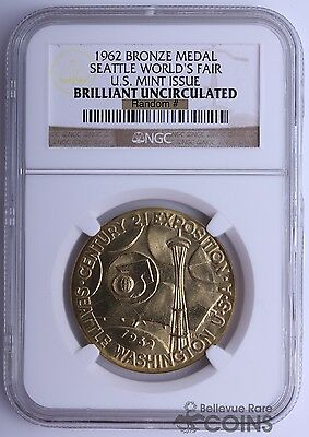 1962 Seattle World's Fair US Mint Issued Bronze Medal NGC Brilliant Uncirculated