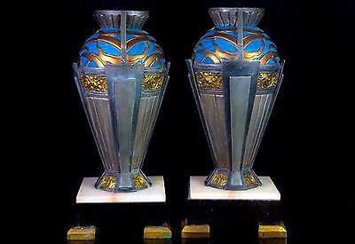 French Art Deco Pair Of Impressive  Cast Metal Mantal Vases