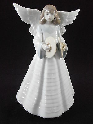 Lladro Xmas Angel With Cymbals 05876 Angelic Cymbalist Tree Topper Figurine