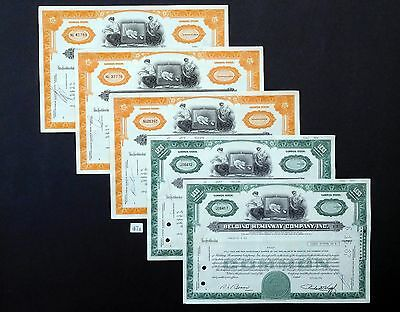 F47a Belding Heminway Co, stock certificates, cat, Lot of 5