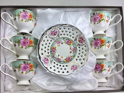 Coffee Espresso Cups & Saucer Set of 12 Pieces Bone China White & Mint