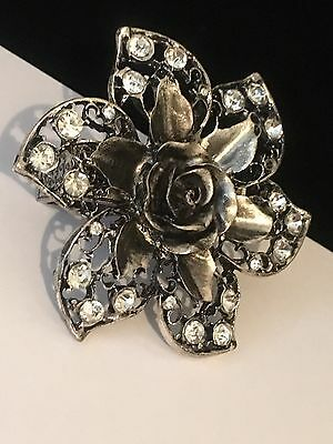 Rhinestone 3D Antiqued Silver Toned Magnetic Belt Buckle Scarf Clip Brooch #B9