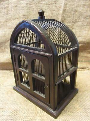 Vintage Bird Cage Curio Cabinet > Old Antique Shabby Primitive Garden Cages 9767