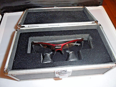 Surgical Acuity Dental Loupes On The Rudy Project Maroon Colored Frame