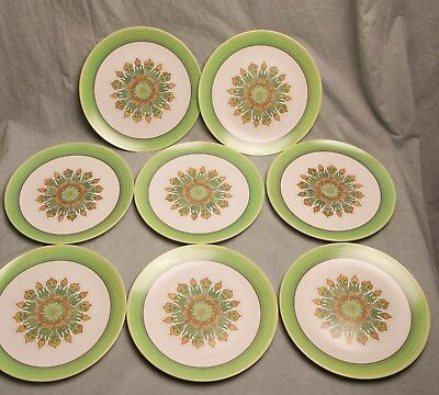 Vintage Genuine Melamine Set of 8 Plastic Plates Retro Green Orange Floral & Vintage Genuine Melamine Set of 8 Plastic Plates Retro Green Orange ...