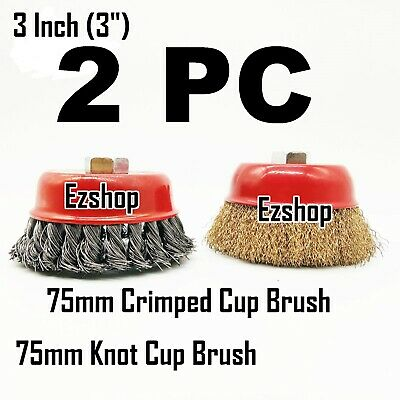 "2pc 3"" Twist Knot & 3"" Crimped Cup Wire 5/8""-11 Threaded Arbor Wire Cup Brush"