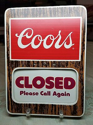 Vintage 1981 Door Window Open Closed Thank You spinner Coors Beer Sign Golden CO