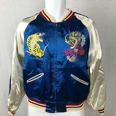 Japan Reversible Embroider Bomber Jacket Map Dragon Tiger Eagle Souvenir Vintage