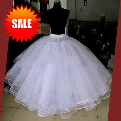 Full white 6 Layer Hoopless Prom Wedding Crinoline Bridal Party Petticoat New