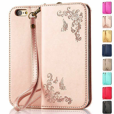 Floral Stand Leather Card Wallet Magnetic Case Cover For Samsung Galaxy Phones