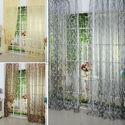 Vogue Chic Leaf Tulle Voile Door Window Curtain Drape Panel Sheer Scarf Valance