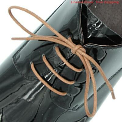 "Wax Cotton Brown Dress Shoe Laces 80cm Work Boot 3 Eyelet Round Thin 32"" Waxed"