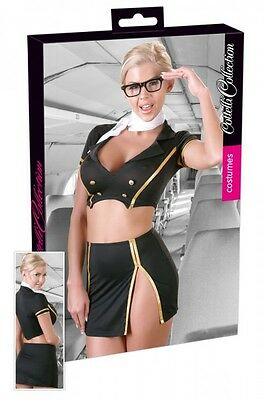Cottelli Collection Costumes Stewardess Kostüm Gr. L Schwarz Gold |53