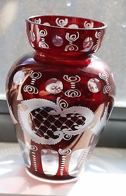 Egermann Bohemian Ruby Etched To Crystal Vase