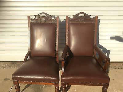 Antique Edwardian Grandfather And Grandmother Chairs