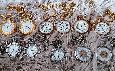 Wholesale Job Lot 11 Various Type Battery Traditional Style Pocket Watches New