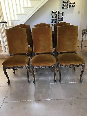 Antique French Set 6 High Back Upholstered Dining Chairs Shabby Chic