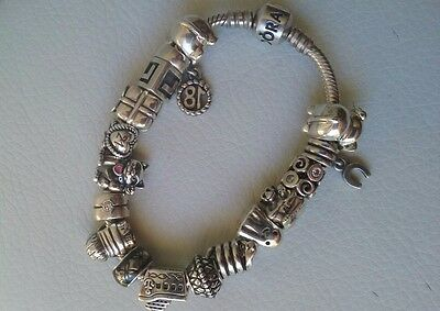 Pandora Barrel Clasp Bracelet with Retired Charms