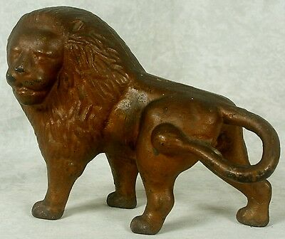 Antique Gold Painted Cast Iron Lion Doorstop Door Stop Circa Early 1900's Orig