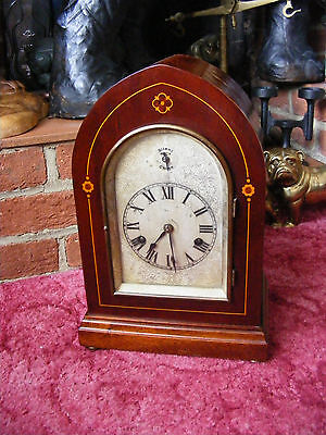 Antique HAC Silent Chime German Mantle Clock in Inlaid Mahogany Wooden Case