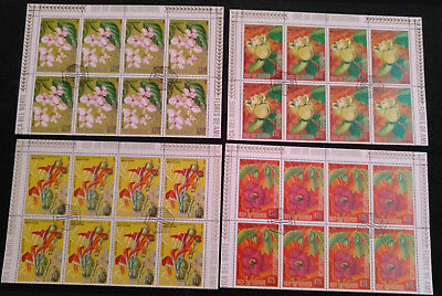 Equatorial Guinea 1970's FLowers x 4 Cto Used Blocks Of 8 #V5656