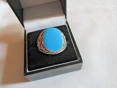 """Men""""s New Silver Costume Oval Turquoise  Enamel Stone Ring Size T"""