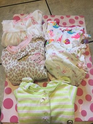 Lot of 5 Carter's, Bloomies Baby and Garanmials Girls Sleepers Size 6 months Dd9