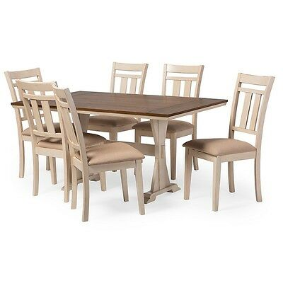 Roseberry French Country Cottage Antique Oak Wood & Distressed White Dining Set