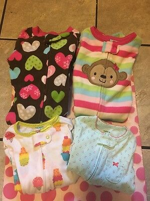 Lot of 4 Carter's Girls Zip Sleepers Hearts Flowers Stripes Size 12 months Dd11
