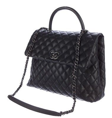 e83f32c10de714 Chanel Quilted Black Caviar Leather Large Coco Handle Bag With Ruthenium HW