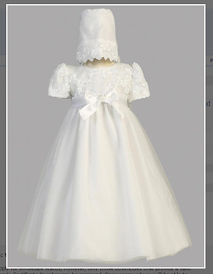 White Christening Gown with Bonnet Size 3 - 6 Months  NEW