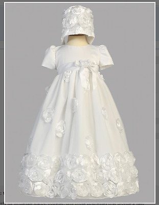 White Christening Gown with Flower Detail and Matching Bonnet Size 3- 6 Months