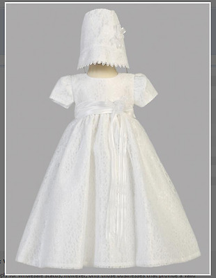 White Christening Gown with Lace Tulle and Matching Bonnet Size 3- 6 Months