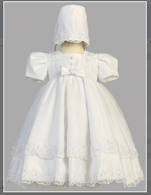 White Christening Gown with Matching Bonnet Size 6 - 9 Months  NEW